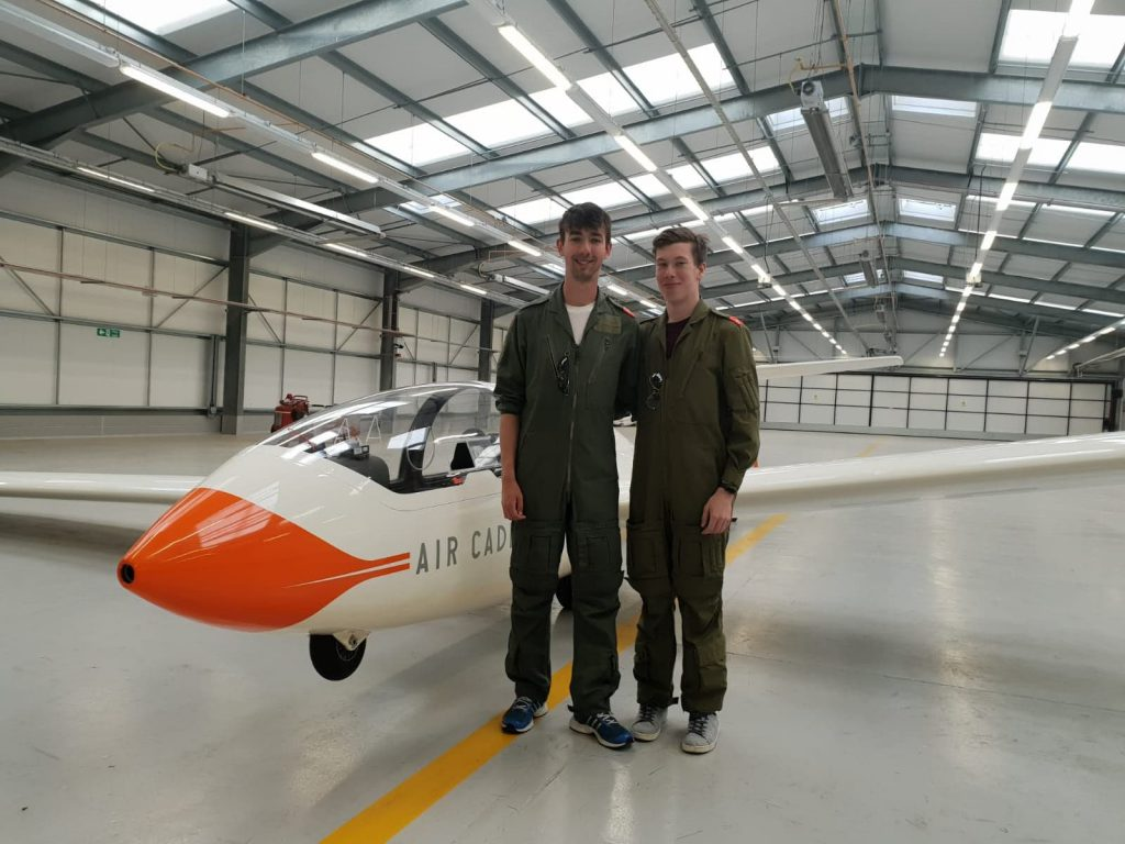 Parsonage stood with former Cadet Flight Sergeant Ash Rogers in front of a Viking glider.