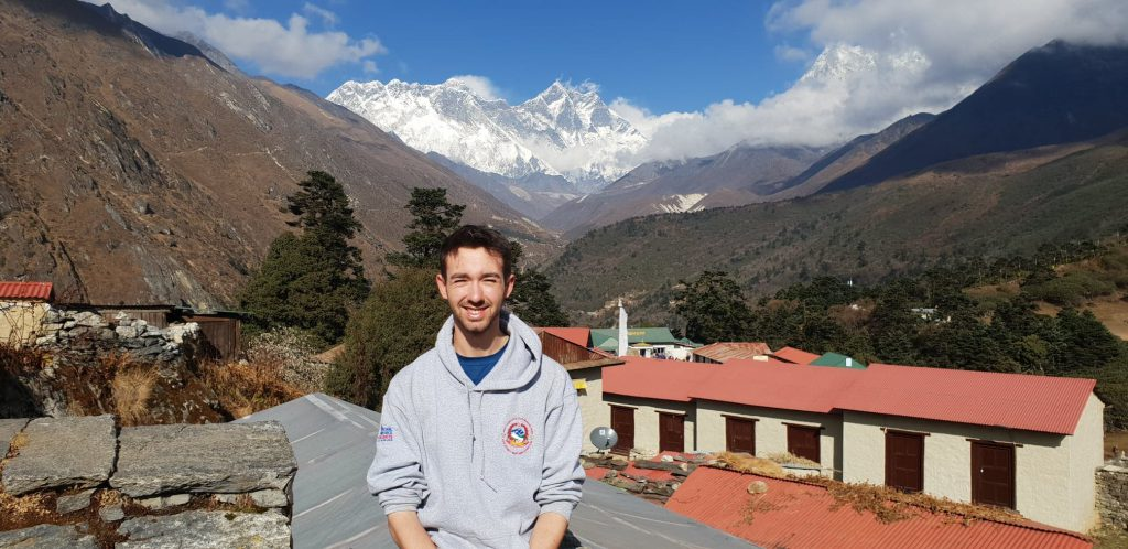 Parsonage stood with Mount Everest in the background.