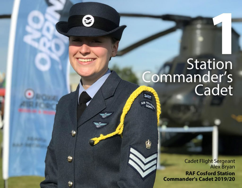 1 Station Commander's Cadet. Cadet Flight Sergeant Alex Bryan, RAF Cosford Station Commander's Cadet 2019/20.